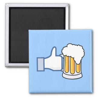 Como la cerveza (color) imán cuadrado