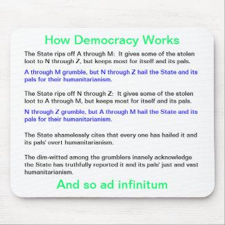 Cómo la democracia trabaja alfombrilla de ratones