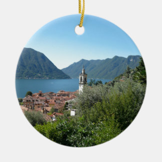 Como Lake Double-Sided Ceramic Round Christmas Ornament