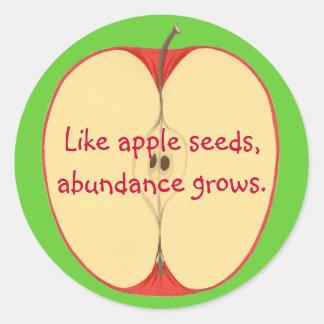 Como las semillas de la manzana, la abundancia pegatina redonda