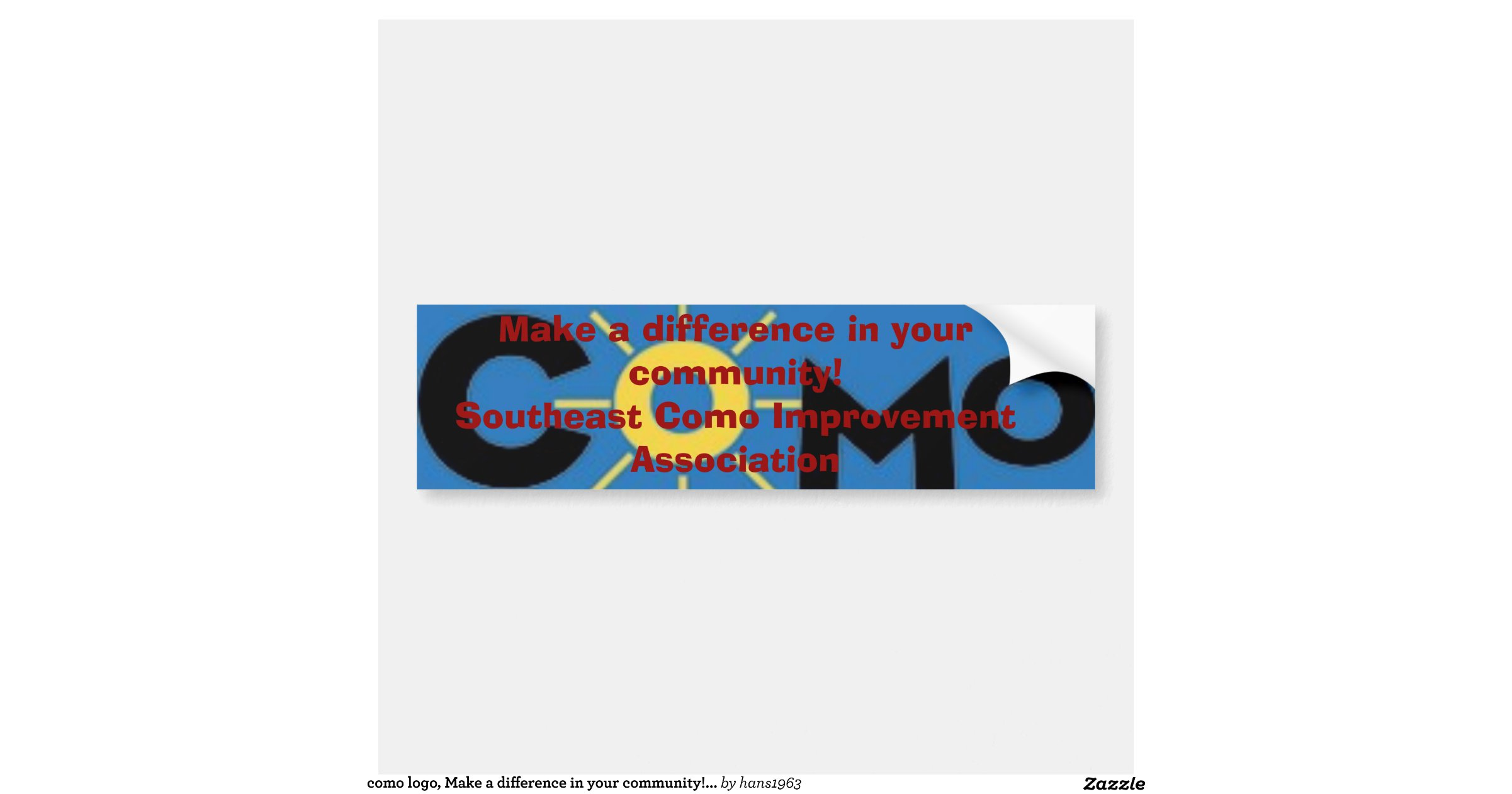 como logo make a difference in your community car bumper sticker