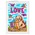 Como los gatos y los perros - tarjetas de felicita