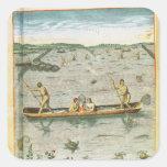 Cómo los indios cogen sus pescados pegatina cuadrada