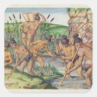 Cómo los indios recogen el oro de las corrientes pegatina cuadrada