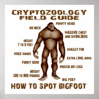 CÓMO MANCHAR BIGFOOT - guía del campo del Cryptozo Póster