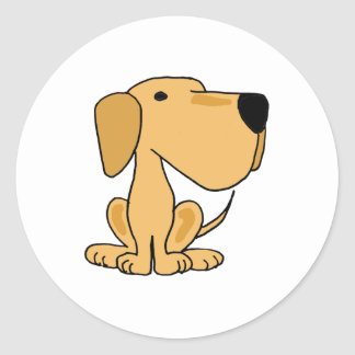 COMO perro de perrito amarillo impresionante de Pegatina Redonda