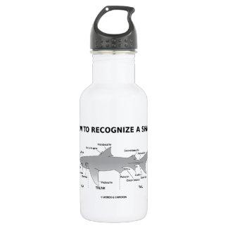 Cómo reconocer un tiburón (humor de la biología) botella de agua de acero inoxidable