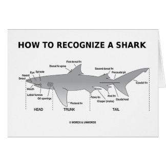 Cómo reconocer un tiburón (humor de la biología) tarjeta de felicitación