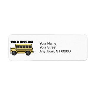 Cómo ruedo el autobús escolar etiquetas de remite