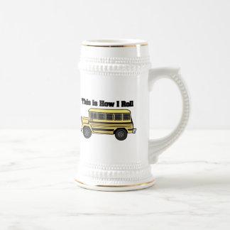 Cómo ruedo (el autobús escolar) jarra de cerveza