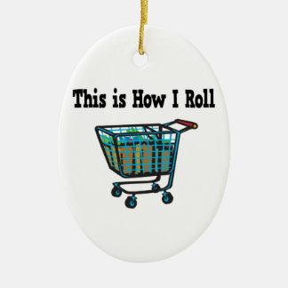 Cómo ruedo el carro de la compra adorno navideño ovalado de cerámica