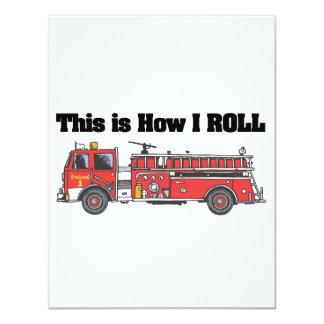 """Cómo ruedo (el coche de bomberos/el camión) invitación 4.25"""" x 5.5"""""""