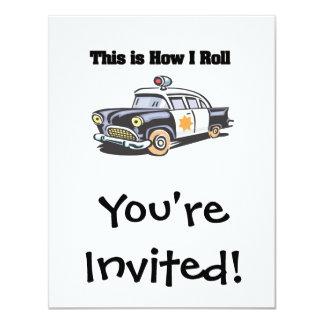 """Cómo ruedo (el coche de la policía/del poli) invitación 4.25"""" x 5.5"""""""