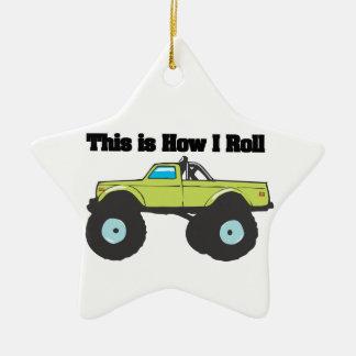 Cómo ruedo (el monster truck) adorno navideño de cerámica en forma de estrella