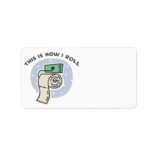 Cómo ruedo (el papel higiénico) etiquetas de dirección