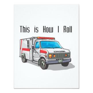 """Cómo ruedo la ambulancia invitación 4.25"""" x 5.5"""""""