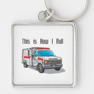 Cómo ruedo la ambulancia llavero cuadrado plateado