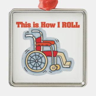 Cómo ruedo (la silla de ruedas) adorno cuadrado plateado