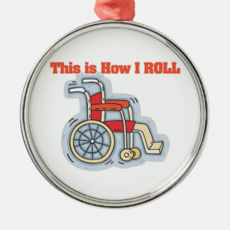 Cómo ruedo (la silla de ruedas) adorno redondo plateado