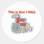 Cómo ruedo (la silla de ruedas) pegatina redonda