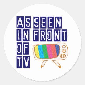 Como se ve en el frente de la TV Pegatina Redonda