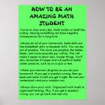 cómo ser un estudiante asombroso de la matemáticas poster