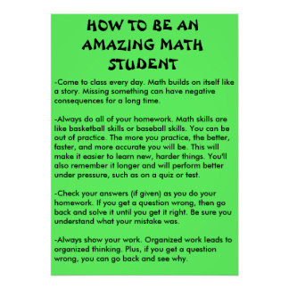 cómo ser un estudiante asombroso de la matemáticas póster
