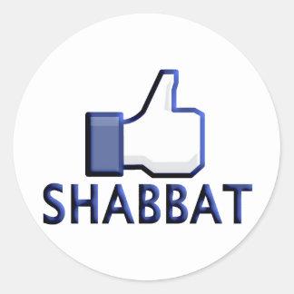 Como Shabbat Pegatina Redonda