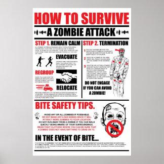 Cómo sobrevivir un ataque del zombi póster