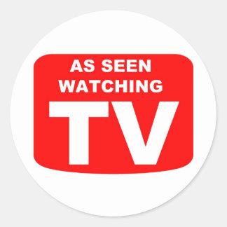 Como TV de observación vista Pegatina Redonda