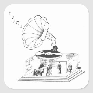 ¿Cómo un gramófono funciona realmente? Pegatina Cuadrada