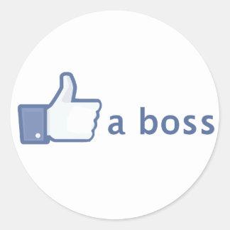 Como un pegatina de Boss