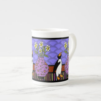 Como un pingüino a los narcisos (taza de la porcel tazas de porcelana