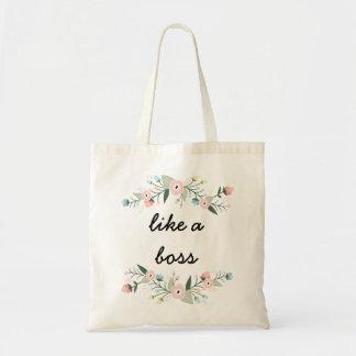 Como una bolsa de asas floral de la cita de Boss