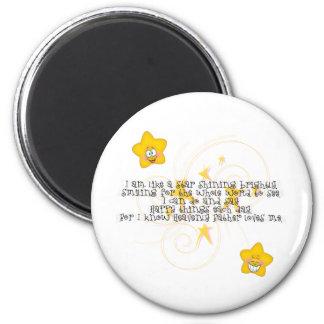 como una estrella que brilla brillantemente imán redondo 5 cm