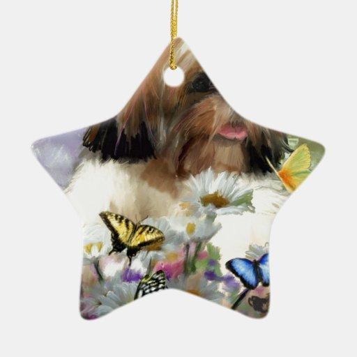 como una mariposa adorno navideño de cerámica en forma de estrella