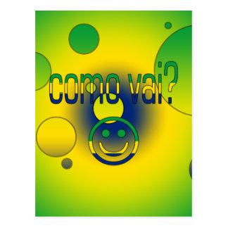 Como Vai? Brazil Flag Colors Pop Art Postcard