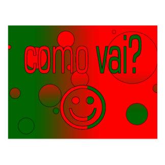 Como Vai? Portugal Flag Colors Pop Art Postcard