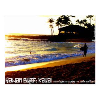 Como viajar con 1 surfer por Kauai Tarjeta Postal