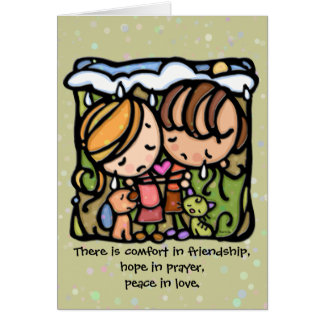 Comodidad en amistad. Esperanza en rezo. Paz en am Felicitación