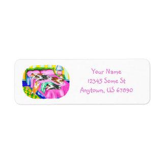 Comodidad rosada de Sheltie Etiquetas De Remite