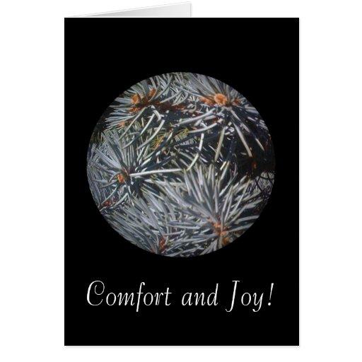 Comodidad y alegría 1 tarjeta de felicitación