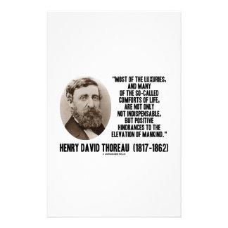 Comodidades de los lujos de la cita Thoreau de los Papelería Personalizada