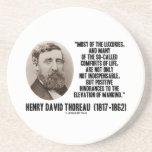 Comodidades de los lujos de la cita Thoreau de los Posavasos Cerveza