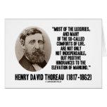 Comodidades supuestas de los lujos de Thoreau de Tarjetas