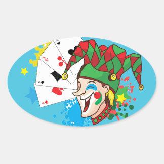 Comodín sonriente con las tarjetas pegatina ovalada