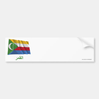 Comoros Waving Flag with Name in Arabic Bumper Stickers