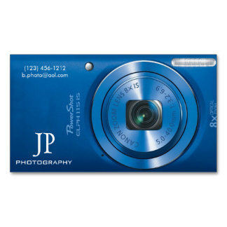 Compact Blue Digital Camera Photographer Magnetic Business Cards (Pack Of 25)