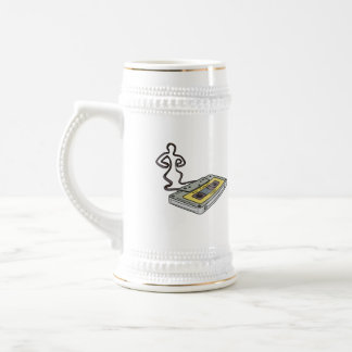 Compact Cassette Tape Man Dancing Mono Line Beer Stein