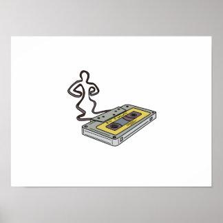 Compact Cassette Tape Man Dancing Mono Line Poster